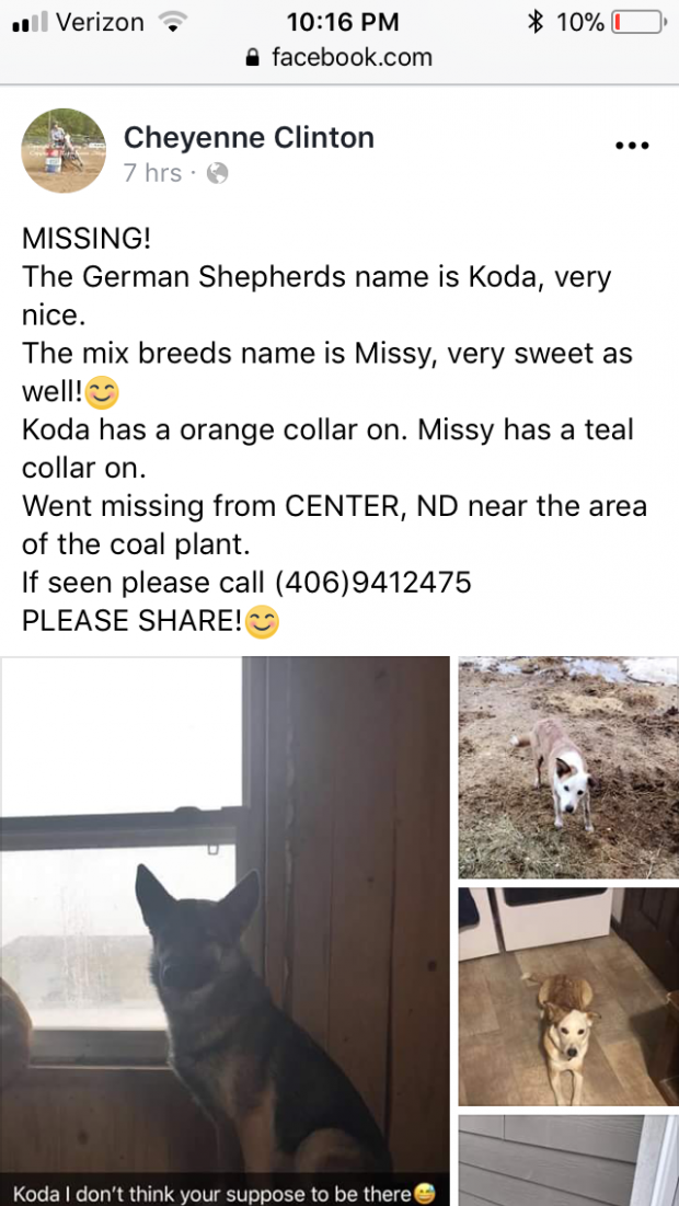 Missing from Center ND
